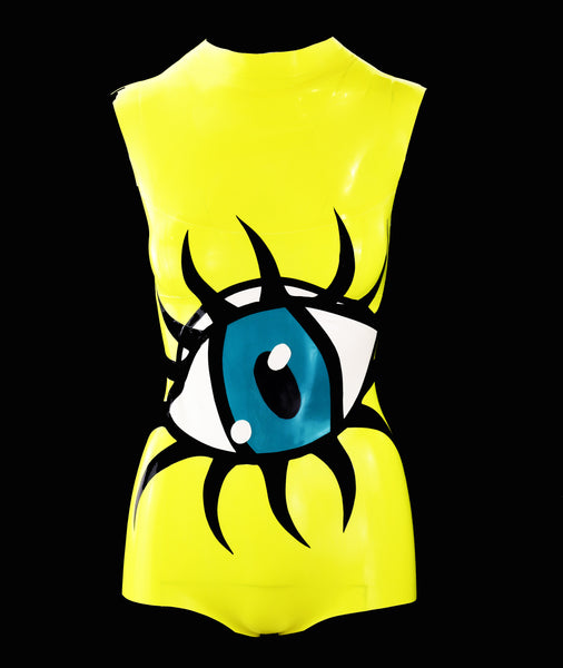 Neon Lemon Eyeball Latex Bodysuit