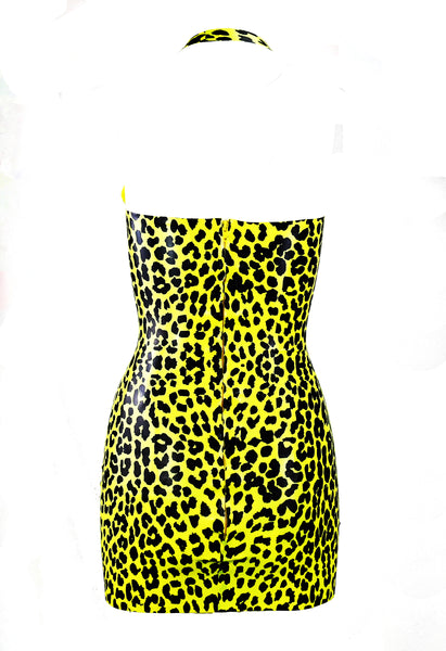 Neon Lemon Leopard Print Latex Mini Dress