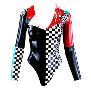 Checkerboard Leopard Print Long Sleeve Latex Bodysuit
