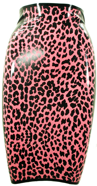 Leopard Print Latex Pencil Skirt - BIZARRE FETISH COUTURE