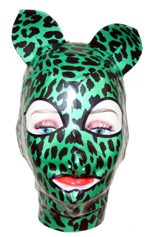 Metallic Green Leopard Print Latex Kitty Face Mask