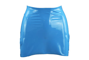 Baby Blue Latex Mini Skirt