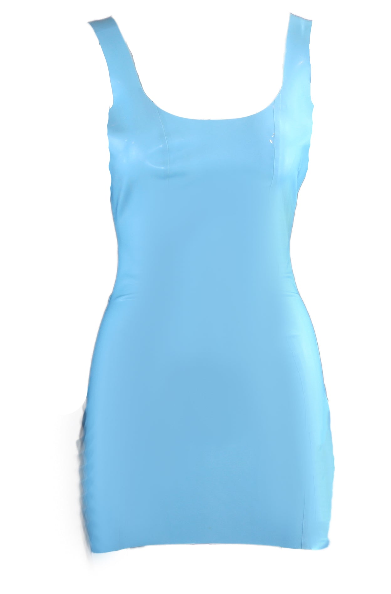 Light Blue Scoop Neck Latex Mini Dress