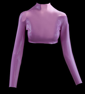 Long Sleeve Lilac Latex Crop Top