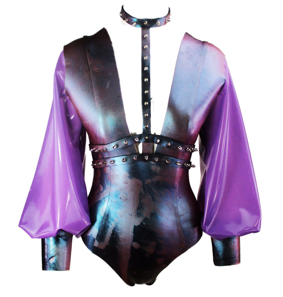 Lilac Marble Heavy Rubber Latex Bodysuit