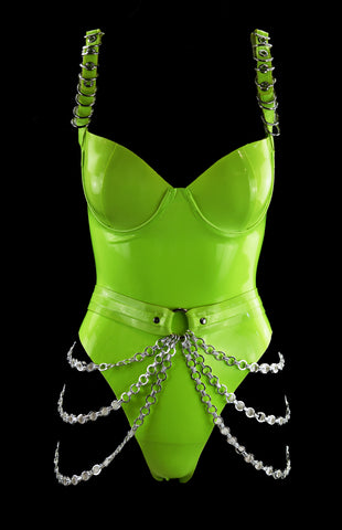 Lime Green Fetish Latex Bodysuit With Silver Chain Belt