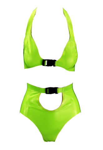 Sporty Lime Green Latex Bikini
