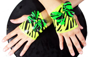 Yellow & Lime Green Zebra Print Latex Fingerless Gloves - BIZARRE FETISH COUTURE