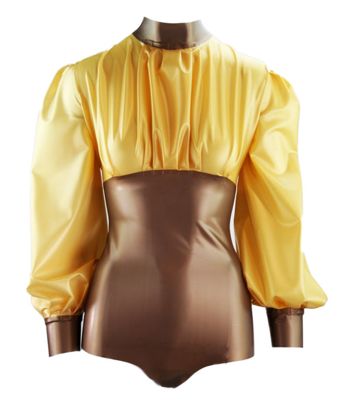 Metallic Puff Sleeve Latex Bodysuit