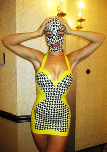 Houndstooth Print Latex Full Face Mask