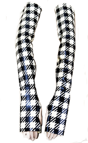 Mini Gingham Print Latex Fingerless Opera Gloves