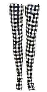 Mini Gingham Print Latex Corset Foot Stockings