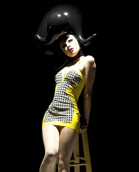 Yellow Houndstooth Print Latex Halter Mini Dress