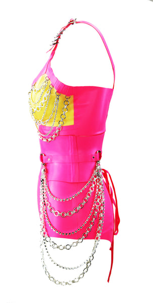Neon Heavy Rubber Latex Chain Bra, Corset & High Waisted Briefs