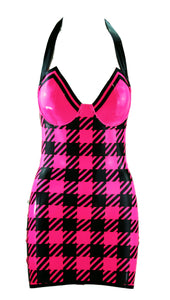 Neon Mini Gingham Latex Mini Dress