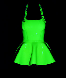 Hand Poured Transparent Neon Lemon Latex Frill Apron