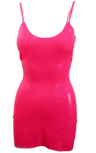 Neon Pink Latex Spaghetti Strap Mini Dress