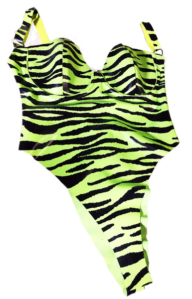 Neon Tiger Print Latex Bodysuit