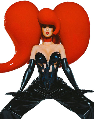 Giant Famine Latex Inflatable Wig