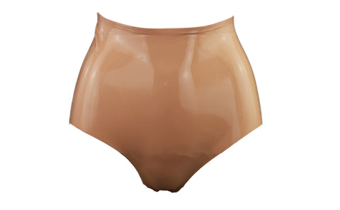 Nude High Waisted Latex Booty Shorts