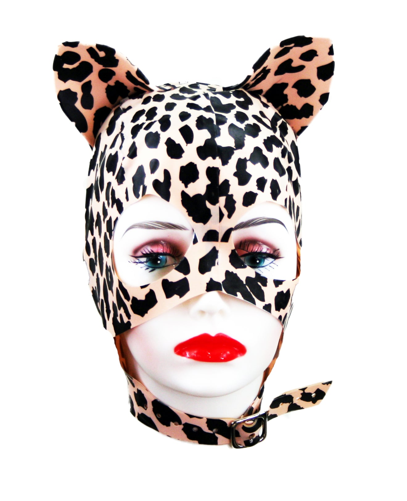 Nude Leopard Latex Kitty Mask