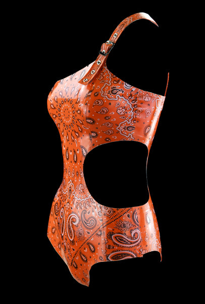 Orange Bandana Print Side Cut Latex Swimsuit