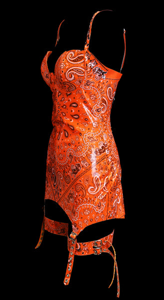 Orange Bandana Print Latex Dress With Garters