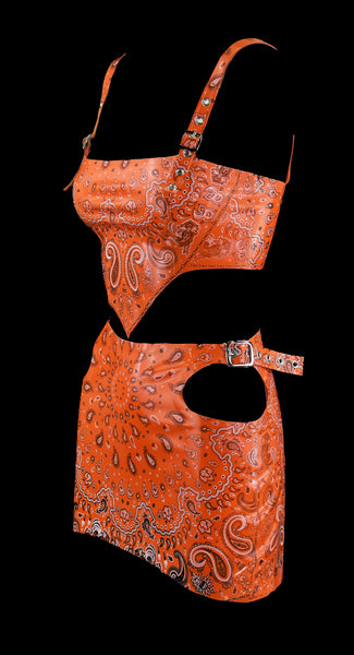 Orange Bandana Print Latex Triangle Top & Double Side Cut Skirt