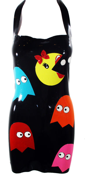 PacMan in Drag Latex Halter Mini Dress