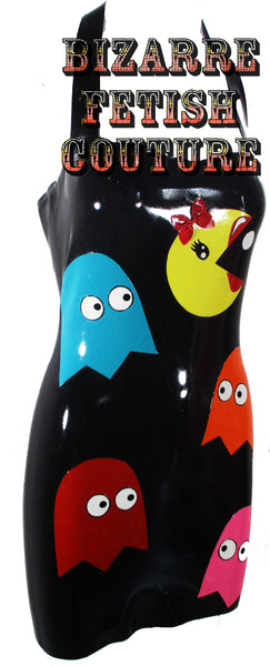 PacMan in Drag Latex Halter Mini Dress - BIZARRE FETISH COUTURE