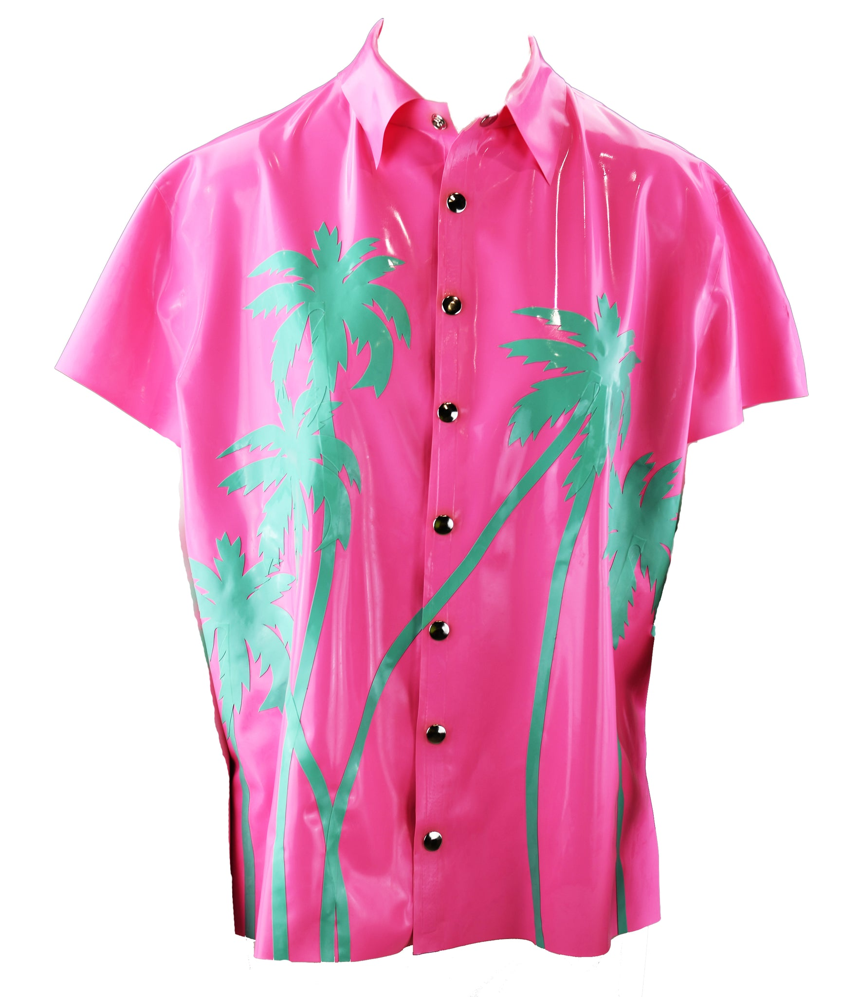 Mens Pink & Jade Green Hawaiian Button Down Latex Short Sleeve Shirt