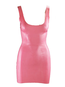 Pink Scoop Neck Latex Mini Dress