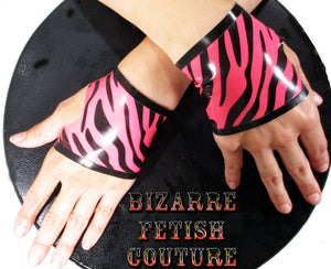 Pink Zebra Print Latex Fingerless Gloves - BIZARRE FETISH COUTURE