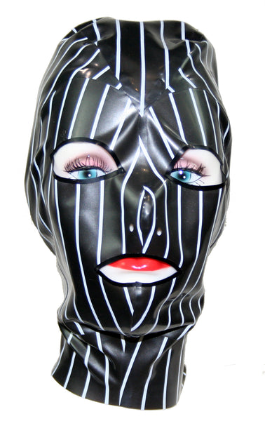 Pinstripe Print Latex Face Mask
