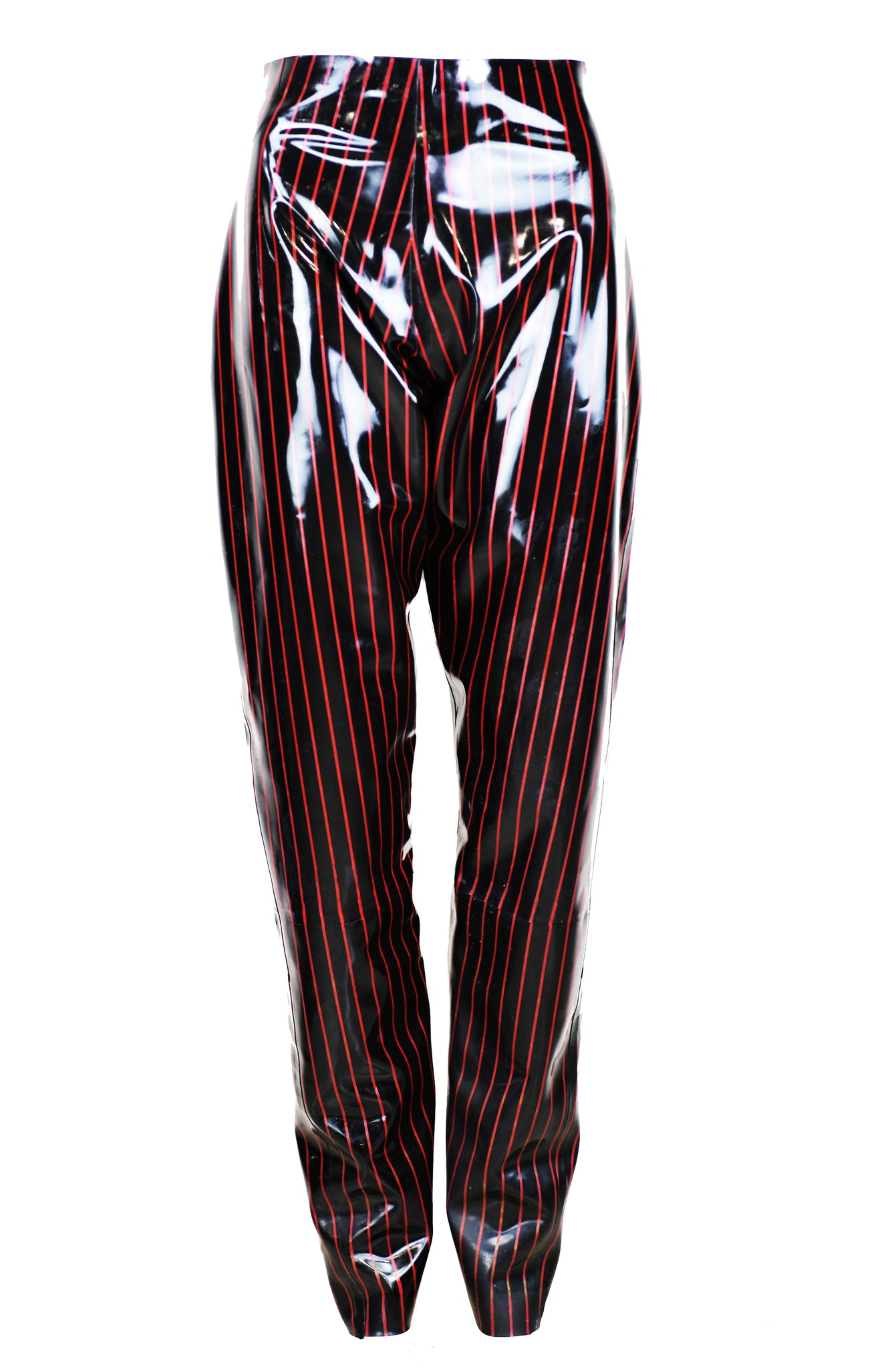 Mens Latex Pinstripe Trousers