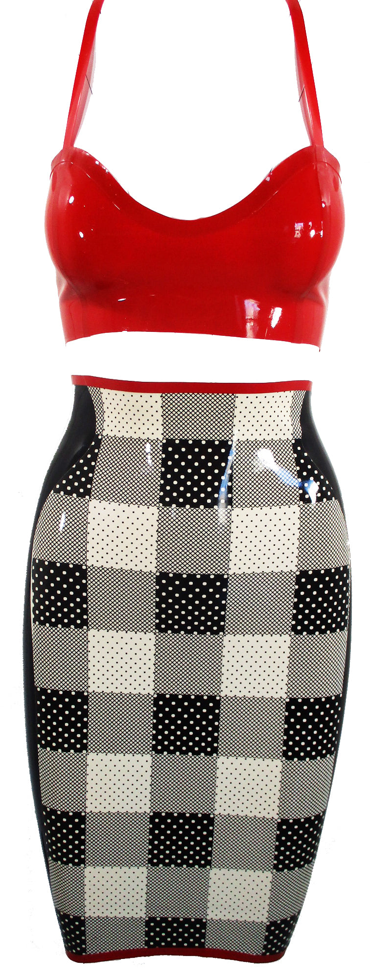 Plaid Print Latex Pencil Skirt & Latex Bra - BIZARRE FETISH COUTURE