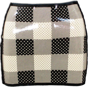 Plaid Polka Dot Latex Mini Skirt - BIZARRE FETISH COUTURE