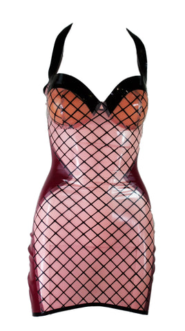Plum Fishnet Print Latex Mini Halter Dress