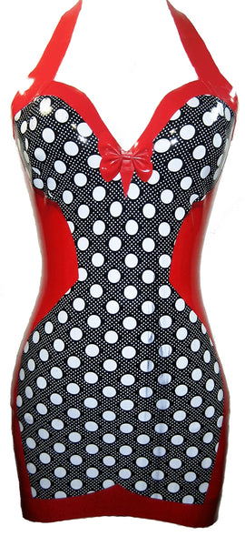 Polka Dot Print Latex Halter Mini Dress