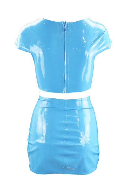 Baby Blue Pretty Bitch Music Latex Crop Top & Mini Skirt