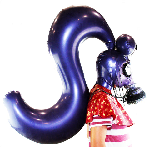 Purple Single Ponytail w/ Bang Inflatable Latex Wig