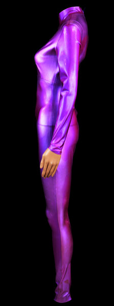 Hand Poured Purple Color Shift Glitter Heavy Rubber Latex Catsuit