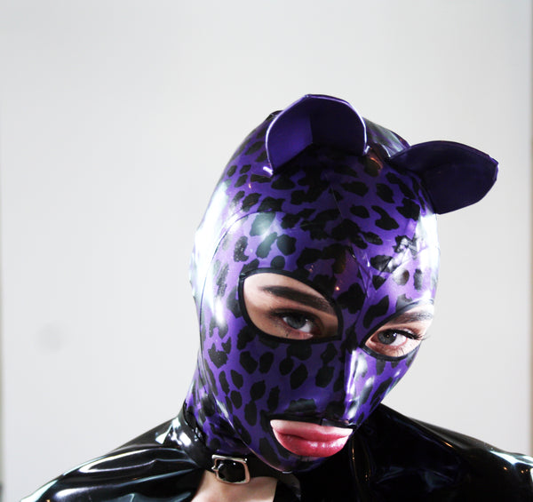 Purple Leopard Latex Kitty Mask