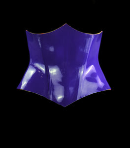 Purple Heavy Rubber Latex Underbust Vamp Corset