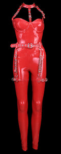 Red Neck Cage Latex Jumpsuit with Garter Belt