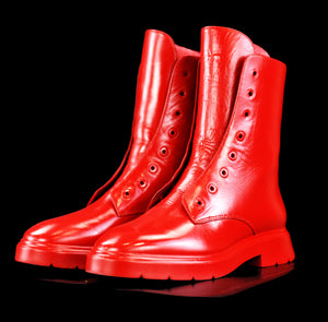 Custom Cherry Red Combat Boots