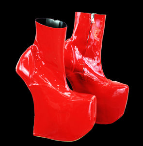 Cherry Red Latex Fetish Platform Wedges