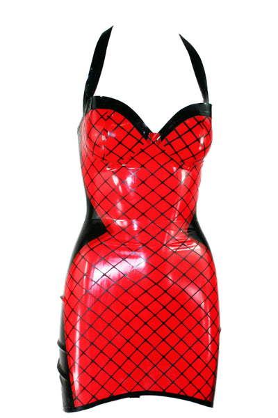 Red Fishnet Print Latex Mini Halter Dress