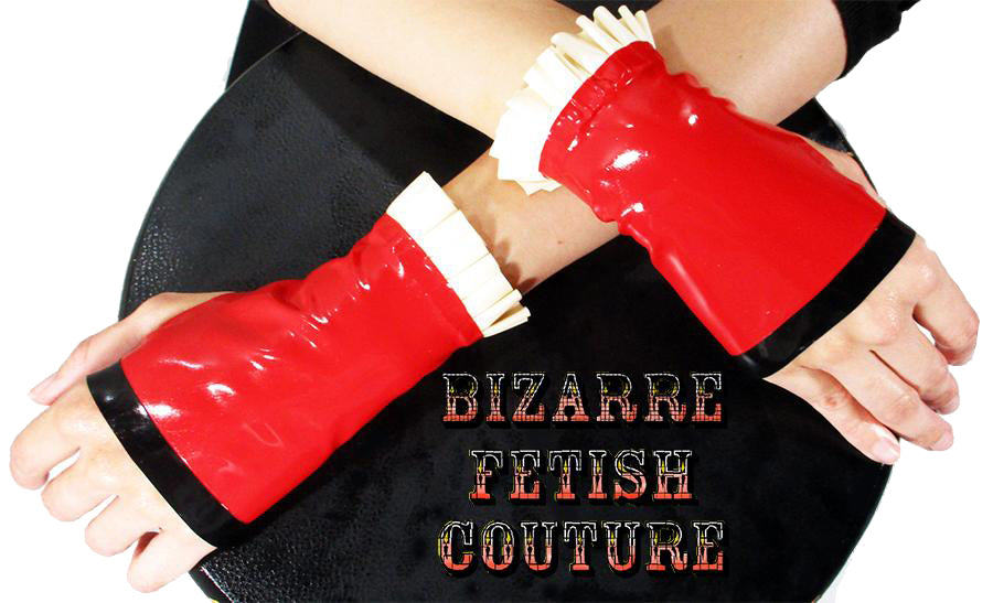 Red w/ White Ruffle Fingerless Gloves - BIZARRE FETISH COUTURE