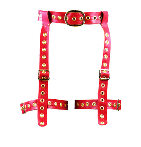 Red & Gold Latex Garter Belt
